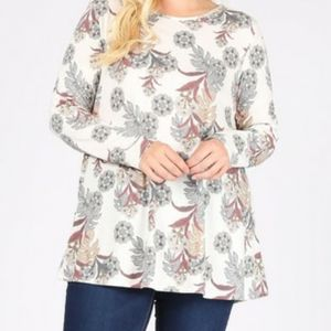 Floral tunic Long sleve 3x 4x 5x